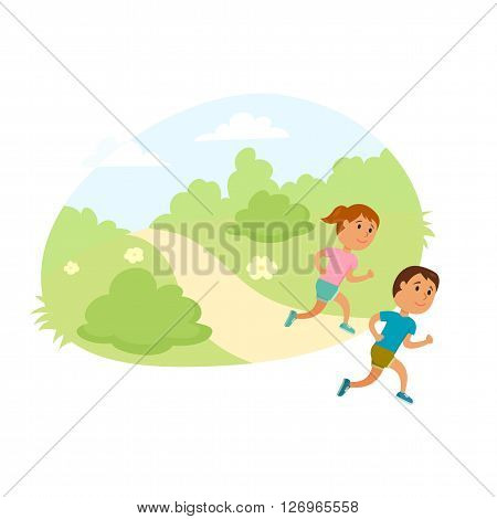 Children run. Healthy lifestyle illustration. Girl and boy jogging. Child runners in city park. Kids activity and sport. Outdoor fitness concept. Child run together.