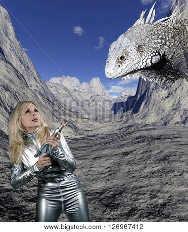 Caucasian woman in silver catsuit pointing weapon at giant reptile against digital background.