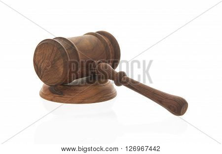 Mallet of judge Court gavelLaw theme Wooden judge gavel isolated on white background
