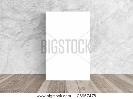 White Blank Poster placed against wall bare modern concrete room Template Mock up for your content. For product display and advertising and promotional purposes.