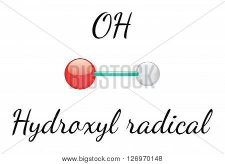 OH hydroxyl 3d radical isolated on white