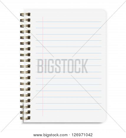Realistic Notebook Size A5 With Line Isolated On White Background