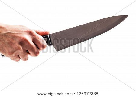 Holding A Kitchen Knife Isolated