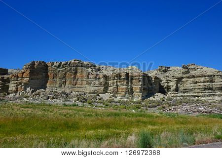 These rocky mesas form a background for the desert near Jordan Valley, Oregon.
