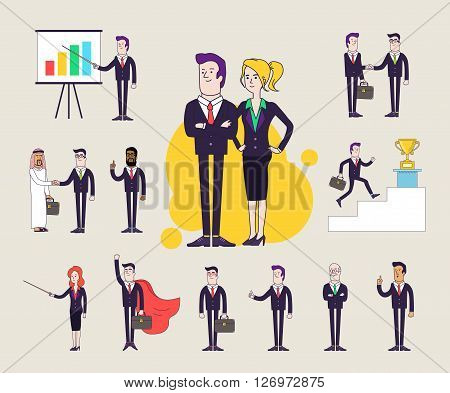 Modern office characters set. Different poses and situations. Collection of vector illustrations. Linear flat design