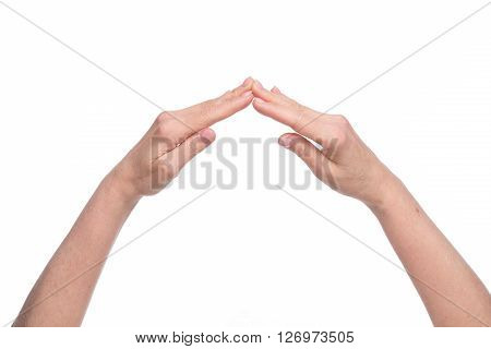 Two hands of old woman clasped all together to demonstrate independence, success and profitability of company.