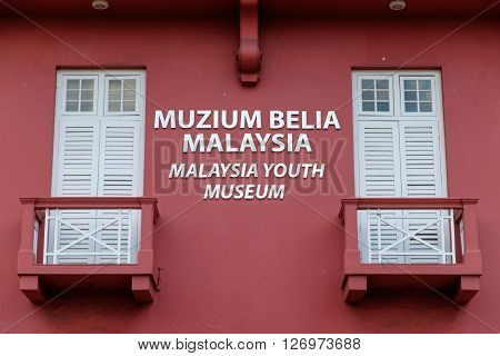 Building wall and balcony of Malaysia Youth Museum is located in Melaka Malaysia.