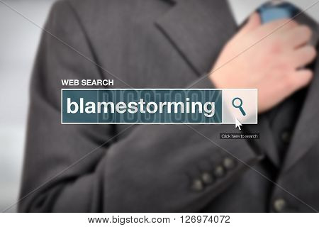 Web search bar glossary term - blamestorming definition in internet glossary.