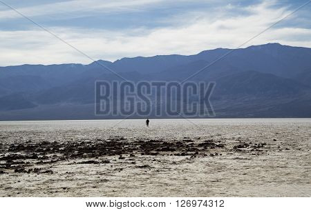 Bad Water Basine in Death Valley (California) - walking man