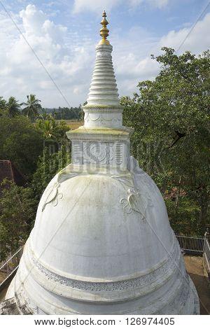 View of the summit of Dagoba in the Palace Isurumuniya. Anuradhapura, Sri Lanka