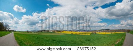 Yellow flowering fields, road and beautiful valley, nature spring landscape