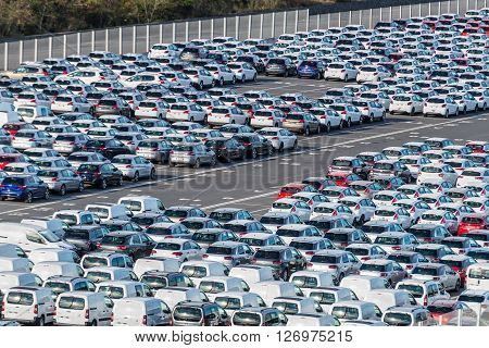 Le Port Reunion island France - December 24 2015: Rows of new cars parked in port platform of the Le Port on Reunion island France.