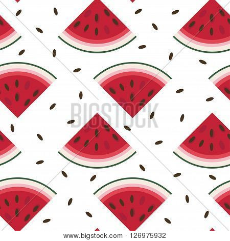 Vector seamless pattern with fresh ripe watermelon. Watermelon vector illustration. Summer concept. Watermelon Slice and Watermelon seeds