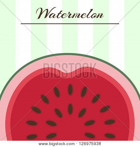 Vector background with fresh ripe watermelon. Watermelon vector illustration. Summer concept. Watermelon Slice.