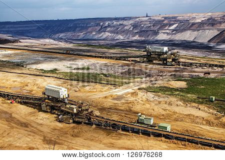 Garzweiler, Germany, april 16, 2016: lignite (brown coal) strip mining at Garzweiler Germany a large surface mine for power generation