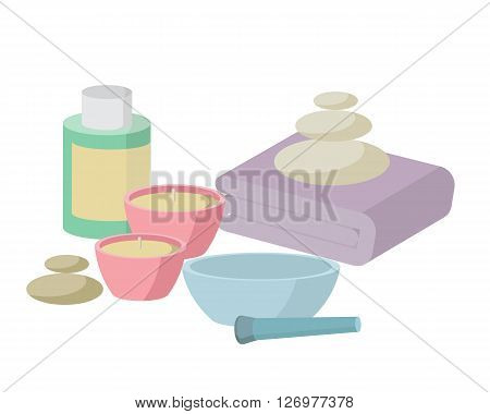 the concept of Spa procedure with stone candles mortar bowl towel