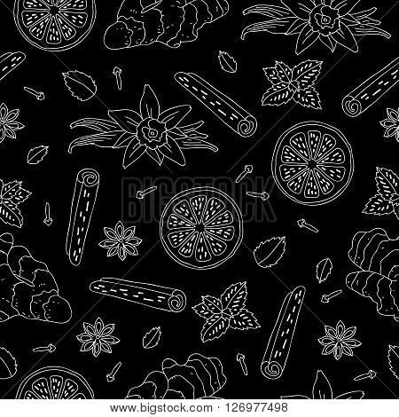 Seamless vector pattern of ginger lemon vanilla mint cinnamon and cloves on a black background. Wrapping paper. Elements for design. Spices
