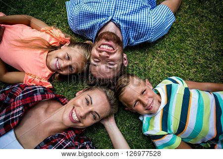 Overhead view of happy family lying on grass at yard