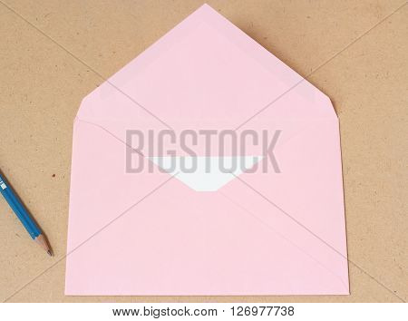 Pink Open Envelope With Paper