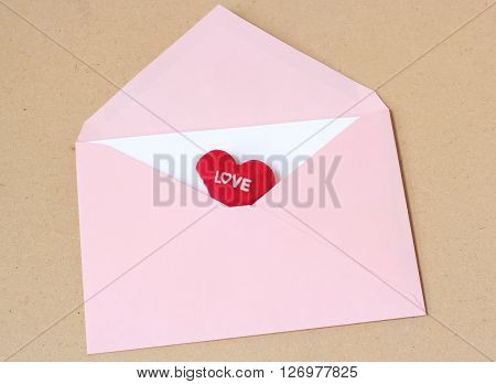 Love Message With Pink Open Envelope
