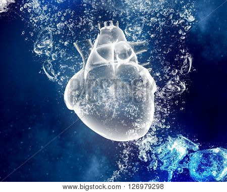 Human heart under water