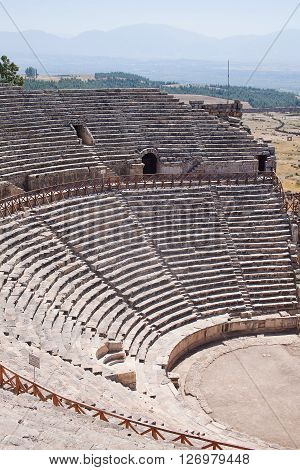 Antique amphitheater in the ancient city of Hierapolis. Pamukkale Turkey.