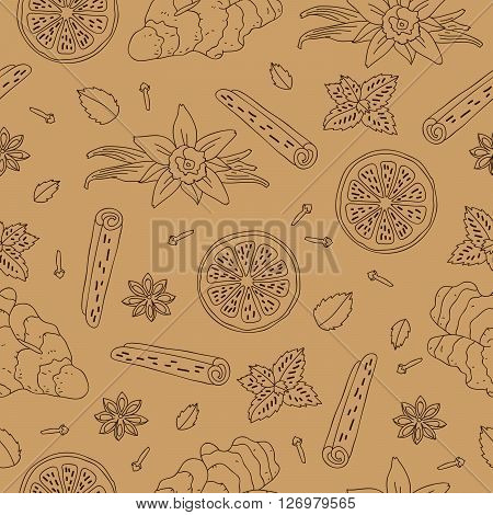 Seamless vector pattern of ginger lemon vanilla mint cinnamon and cloves on a light brown background. Wrapping paper. Elements for design. Spices.