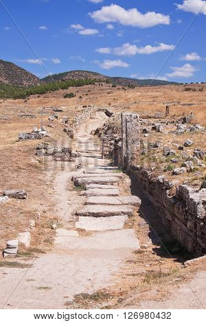 Ruins of the ancient city of Hierapolis. Pamukkale. Turkey.