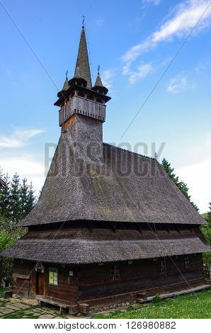 Traditional wooden church in Maramures region, Romania