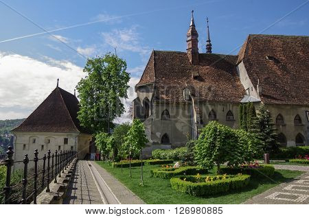 St. Joseph's Roman Catholic Cathedral And Tower Of Stronghold In Sighisoara Old Town ,transylvania,