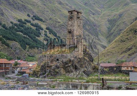 Medieval watch tower in village Sno (Sno castle) Kazbegi region Georgia