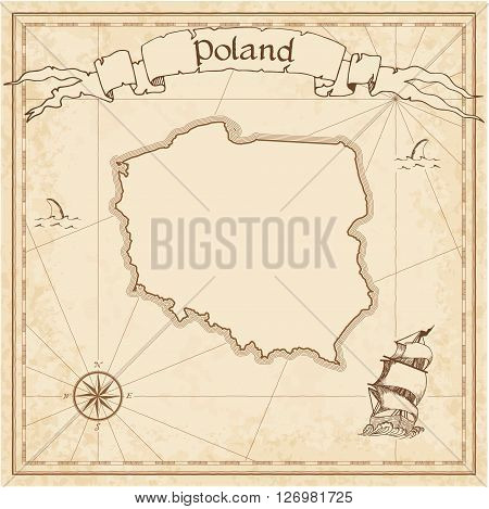 Poland Old Treasure Map. Sepia Engraved Template Of Pirate Map. Stylized Pirate Map On Vintage Paper