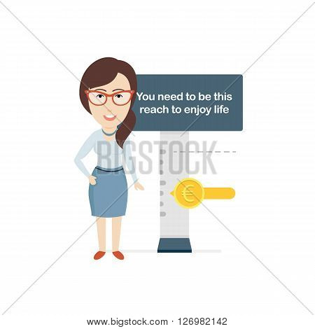 Conceptual Vector Illustration depicting Bank Loan. Includes Business Woman Showing the Level of Income on the Kind of an Amusement Park Barrier.