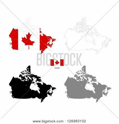Canada country black silhouette and with flag on background isolated on white