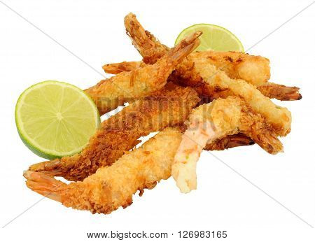 Coconut and batter coated prawns with fresh lime isolated on a white background