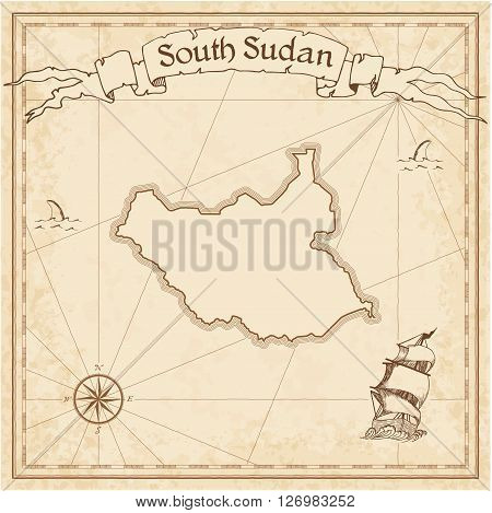 South Sudan Old Treasure Map. Sepia Engraved Template Of Pirate Map. Stylized Pirate Map On Vintage