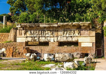 Remains of Forum of Nerva in Rome - Italy