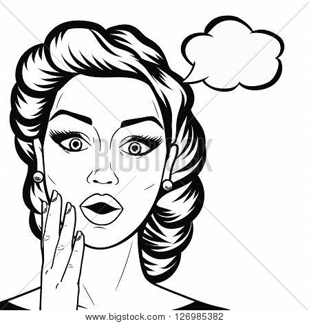 Line art woman face with open mouth and thought bubble outline shocked or amazed woman face in comics style black and white vector.