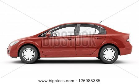 New CG 3d render of generic luxury red detail car illustration isolated on a white background
