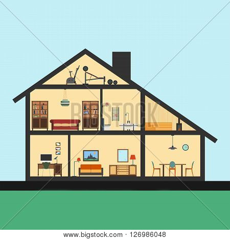 House inside. Detailed modern house interior in cut. Flat style illustration. Rooms with furniture and object.