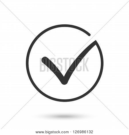 Different black and white check mark or tick in circle conceptual of confirmation acceptance positive passed voting agreement true or completion of task on a list. Flat illustration