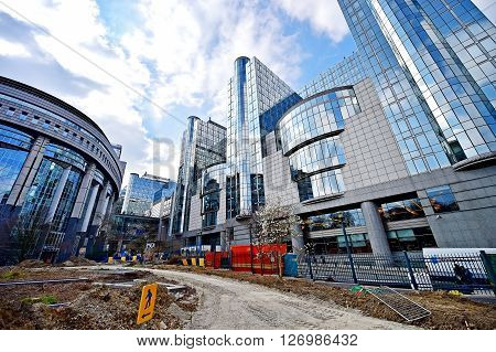 BRUSSELS BELGIUM - MARCH 16: Construction works near the European Commission Headquarters also know as the Berlaymont building on March 16 2016 in Brussels.