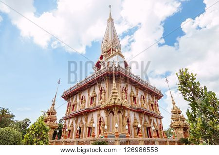 Thai buddhism great pagoda with blue cloudy sky