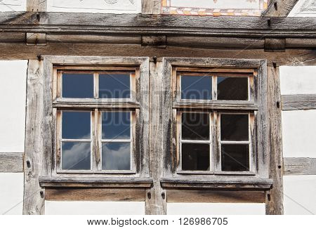 two windows in an old half timbered house