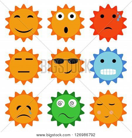 Sun icons with emotions. Set of vector sun icons with different emotions. Fun fear surprise fatigue indifference happy angry crying vomiting shy. Emotions vector icon.