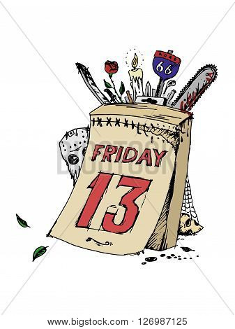 Poster of friday the thirteenth. Vector stock illustration.