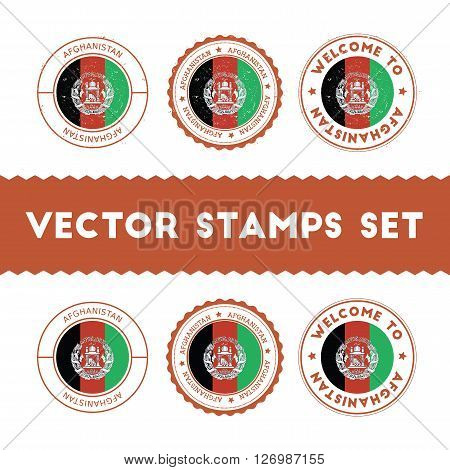 Afghan Flag Rubber Stamps Set. National Flags Grunge Stamps. Country Round Badges Collection.