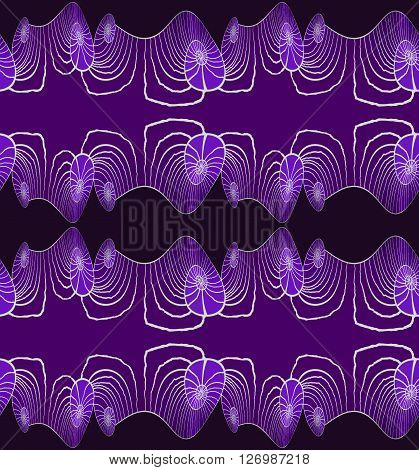 Abstract geometric seamless background. Regular spiral pattern horizontally in purple shades with light gray outlines and wiggly lines on purple and black, elegant and dreamy.