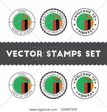 Zambian Flag Rubber Stamps Set. National Flags Grunge Stamps. Country Round Badges Collection.