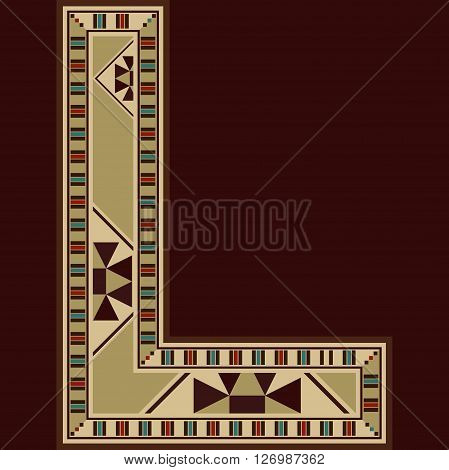Oriental Wooden Mosaic Decorated Capital Letter L